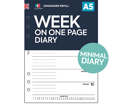 Any year Week on one page diary FILOFAX A5 / PERSONAL Compatible Refill insert