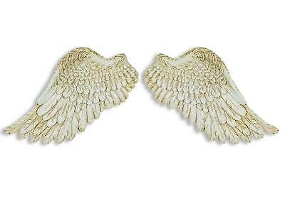 Small Pair Antique White Angel Wings Cherub Wing Decorative Wall Art Hanging
