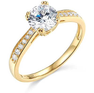 2 Ct Round Brilliant Cut Engagement Wedding Ring Channel Real 14K Yellow Gold