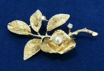 14k Gold Rose Pin/brooch with Diamonds & Pearl MOTHER'S DAY GIFT