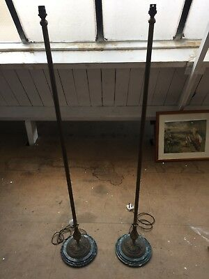 Antique Marble & Brass Lamp Stands