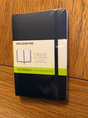 NEW Moleskine NAVY Pocket PLAIN NOTEBOOK SOFT 192 PG. CLASSIC COLLECTION #4726