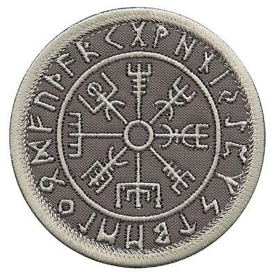 Vegvisir Compass Norse Runic Viking Icelandic subdued ACU sew iron on patch
