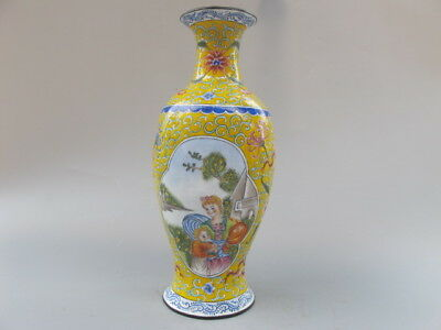 China Antique bronze QIANLONG mark Cloisonne hand painted character vase YELLOW