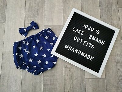 Baby Boys 1st Birthday Cake Smash Outfit/ Prop. Navy Blue Stars. Handmade. Party