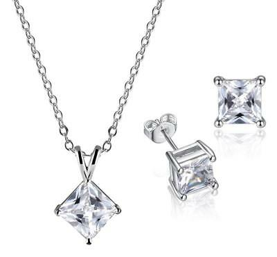 925 Sterling Silver Princess Cut Cubic Zirconia Jewelry Set: Necklace&Earring