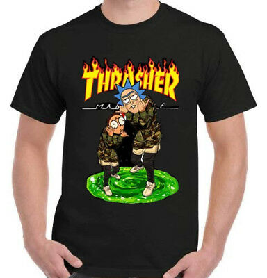 RICK AND MORTY THRASHER Black T-Shirt Made in USA