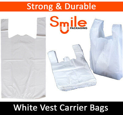 "400 x WHITE PLASTIC CARRIER BAGS 11x17x21"" 14MU SHOP SUPERMARKET RETAIL STALL"
