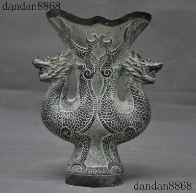 Old Chinese Bronze Antique double Dragon Loong Statue Wine Goblet Wineglass Cup