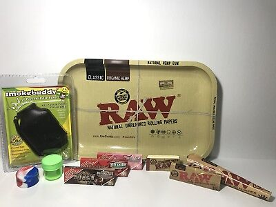 Raw Juicy Jay's Smoke Buddy Bundle Smokers Lot Rolling Tray Papers 420 Dab Cones