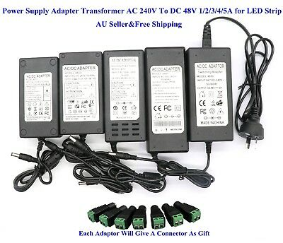 AU Power Supply Adapter Transformer AC 240V To DC 48V 1/2/3/4/5A for LED Strip