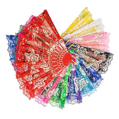 Spanish Chinese Style Folding Hand Fabric Rose Flower Dance Lace Fan Party LOT