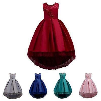 Flower Girls Lace Tutu Dress Formal Party Ball Gown For Kids Wedding Bridesmaid