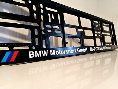 2 x BMW MOTORSPORT M POWER  Number Plate Surrounds Holder Frame New For Cars