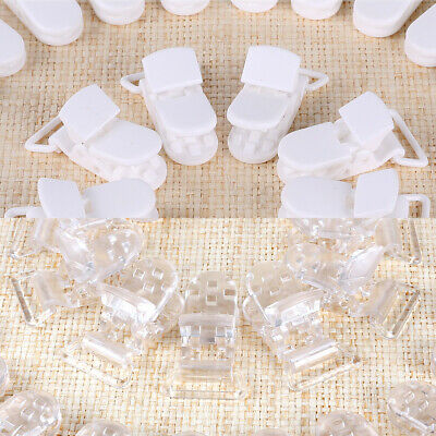 50 Suspender Paci Soother Pacifier Holder Dummy Clips KAM Plastic Clear/White