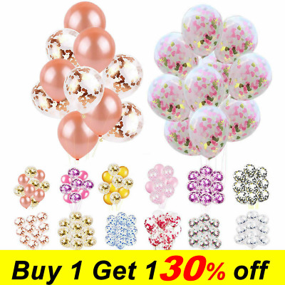 "10pcs 12"" Foil Latex Confetti Balloon Set Wedding Birthday Hen Party Baby Shower"