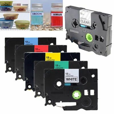1/3pc 9mm/12mm 8m TZ TZE Laminated Labeling Maker Label Tape for Brother P-Touch