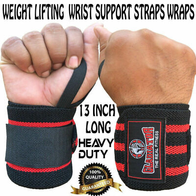 Gladiator Weight Lifting Gym Training Wrist Support Straps Wraps Bodybuilding