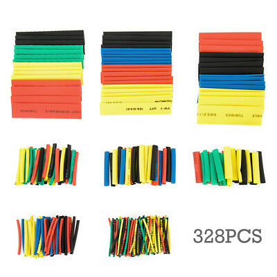 328Pcs 5 Colors 8 Type Heat Shrink Tubing Wrap Sleeve Kit top Assorted 2:1