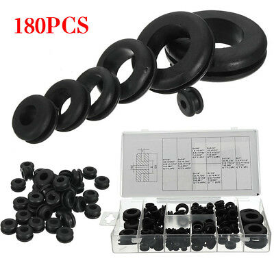 180Pcs Rubber Blanking Grommet Assortment Kit Set Electrical Wire Wiring Gasket