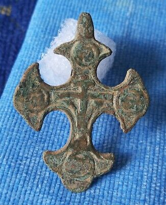 Ancient Byzantine Bronze Cross - Religious Artifact - Wearable Very Rare