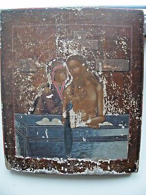 "Antique 19c Russian Orthodox Hand Painted Wood Icon ""Do not cry my mother."""