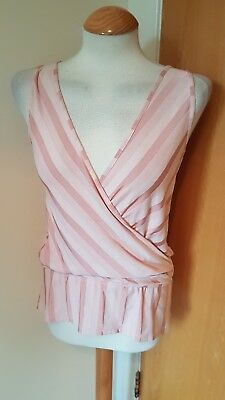 Ladies Ex Topshop Pleated Off Pink Capped Sleeves Pleat V Neck Blouse Top 6-14
