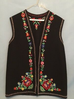 Vintage Hungarian Black Felt Vest with Embroidered Flowers and Border