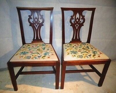 ANTIQUE GEORGE III CUBAN MAHOGANY PAIR OF CHAIRS c1780-1810 VINTAGE DINING CHAIR