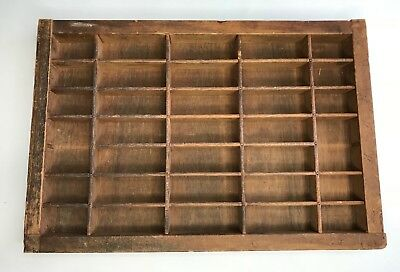 Vintage Antique Wooden Typesetter Letter Press Printer Tray Display 16.5x11x1.25
