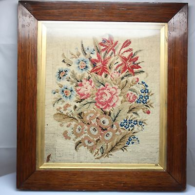 f24 Vintage real Framed Needlepoint Roses And Flowers Wood Gold Antique Frame