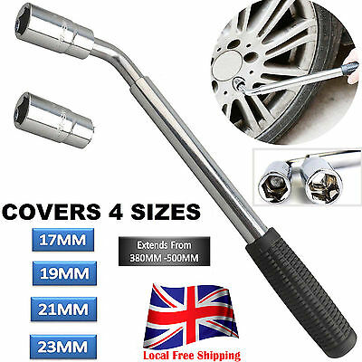 Telescopic Extendable Wheel Brace Wrench Car Van Socket Tyre Nut 17&19mm 21&23mm
