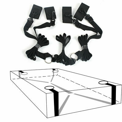 Dungeon Bed & Wheel Restraint Straps System, Attached Wrist Ankle Cuffs  + Whips