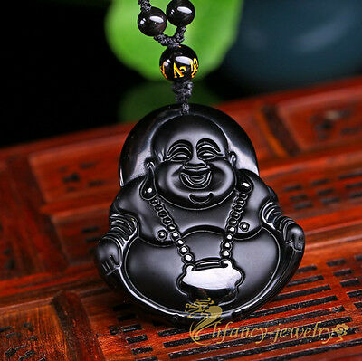 100% Natural Black Obsidian Hand-carved Buddha Lucky Amulet Pendant Necklace LS