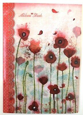 "NEW Red Pink Floral Nature Print Softcover Address Book, 8 1/4"" x 5 5/8"", Vegan"