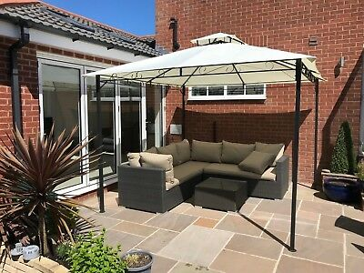 Garden Gazebo Ecru Party Shelter Patio Shade Outdoor Sun Canopy 3m x 3m
