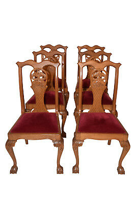 Elegant Set 6 Vintage Chippendale Dining Chairs, Oak, 1940-50's