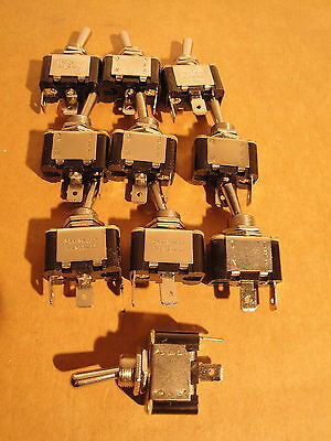 """10 EA - SPST 20 Amp 125Vac New TOGGLE SWITCHES 1/4"""" Tab - Solder 15 A 230 Vac"""