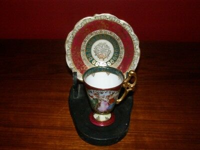 Vintage ES Germany Prov Saxe - Neo-Classical Demi-tasse Cup & Saucer