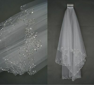2 Tier White/Ivory wedding veil Elbow length Sequins Edge Bridal Vail With Comb