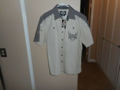 Men's Harley Davidson Colorblocked 100% Cotton S/S Button Shirt Large NWT