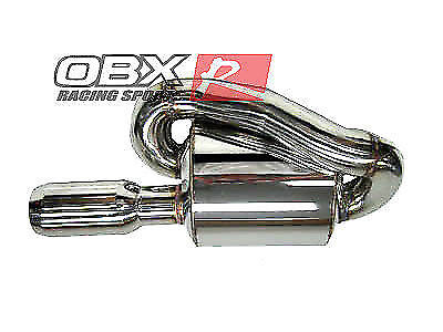 """1x Twin Loop Canister Style Sport Exhaust Muffler 2.0/"""" Inlet JDM Euro Universal"""