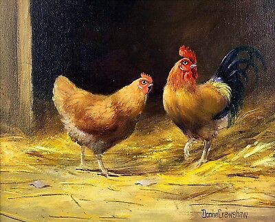 DONNA CRAWSHAW (b1960), ROOSTER COCKEREL CHICKEN POULTRY STUDY SIGNED OIL CANVAS
