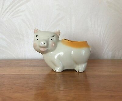 "Vintage Ceramic Pig Planter - Mid-Century 5"" Long, 4"" High EUC hand painted"