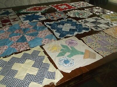 vtg quilt blocks, hand stitched, cotton, 18