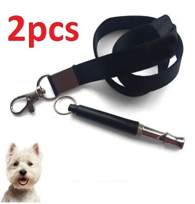 2xDog Whistle Puppy Training Ultrasonic Pitch Sound Adjustable Lanyard Key Chain