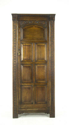 Antique Armoire, Entryway Organizer, Oak Paneled Armoire, Scotland 1920, B1022