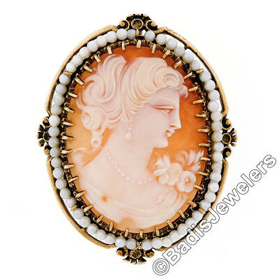 Large Vintage 14k Yellow Gold Carved Shell Cameo Pearl Frame Halo Brooch Pendant