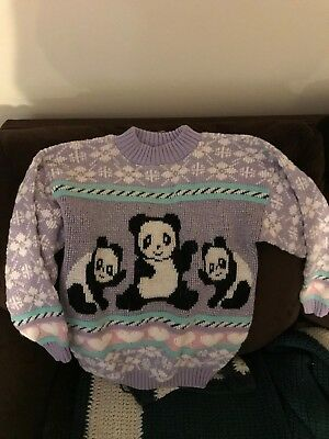 Vintage 80's 90's Adele Sparkle Panda Sweater Fairy Kei Kawaii Pastel Child Size