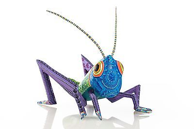 CRICKET ALEBRIJE WOOD CARVING hand painted & signed by Ramirez made in Oaxaca